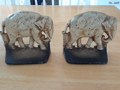 Vintage Cast Iron Elephant Bookends