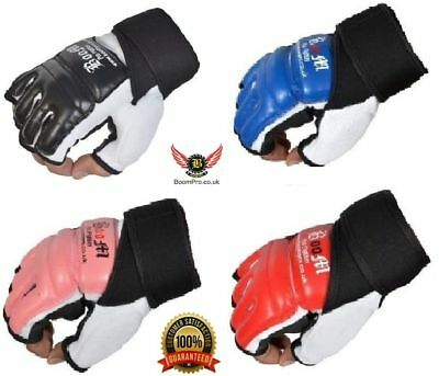 BooM Leather Padded Fighting UFC MMA Grappling Gloves Punching Bag Training Mitt