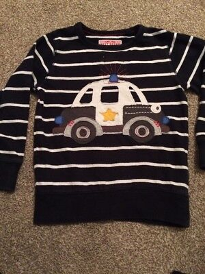 NEXT boys 2-3 Yrs Navy White Jumper With Police Car