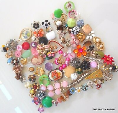 100pc VINTAGE TO MODERN jewelry earrings, PINS *CRAFT COLLECTION* embellishments