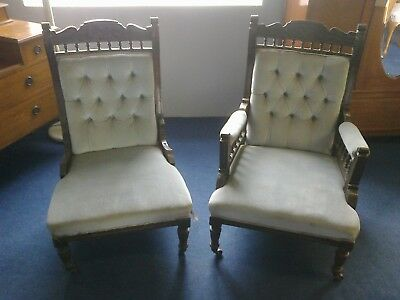 pair of Victorian his and hers fireside chairs