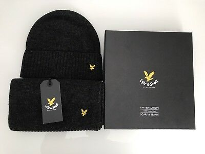 Lyle & Scott Wool Scarf and Beanie / Hat Gift Set In Charcoal Marl BNIB