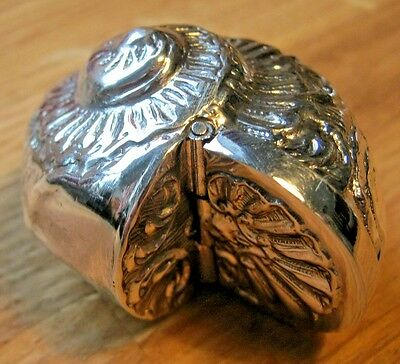 Detailed Novelty Nautilus Conch Shell Sterling Silver Snuff Box or Vesta Case