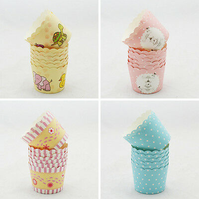 50x Disposable Cake Baking Paper Cup Cupcake Muffin Cases Fit Home Party 5t