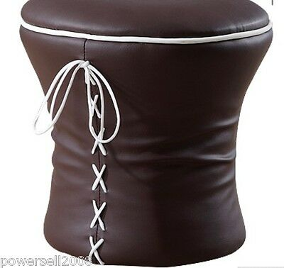 Modern Brown Imitation Leather Dressing Stool Footstool  &$
