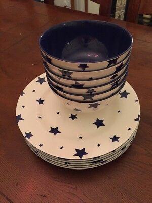Emma Bridgewater Blue Star Melamine Plates And Bowls