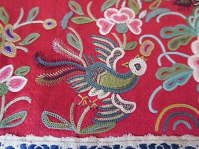 Vintage Chinese silk hand embroidery panel -  red