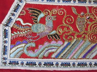 Vintage Chinese silk hand embroidery panel - red/gold