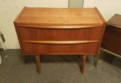 60s Danish Modern TEAK Entry Table Chest Drawers, Mid Century Dresser, Credenza