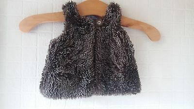 Mamas And Papas Girls Brown Furry Gilet Bodywarmer Age 3-6 Months