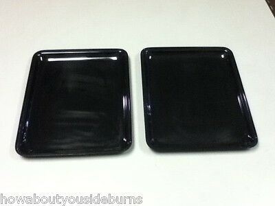 Deli restaurant bar black rectangular serving tray platter bowl set of 2 AB8