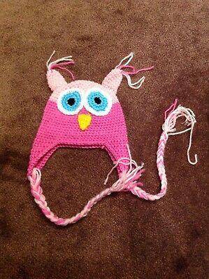 Handmade baby girls hat, pink owl hat with ears and tassels