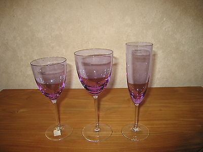 GUY DEGRENNE *NEW* BRAGANCE VIOLET Set 3 verres Glasses