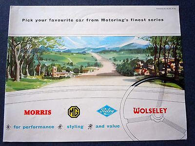 RARE! 1958 NUFFIELD MORRIS- MG- RILEY- WOLSELEY Original Sales Brochure/ Poster