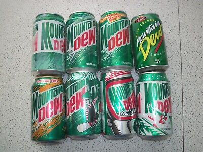 8 Various Vintage Mountain Dew Cans, Open & Empty 1990's 12oz