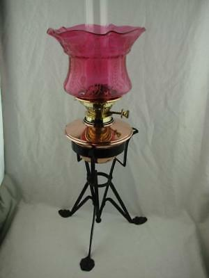 Fabulous Arts & Crafts Messenger's Oil Lamp, Wrought Iron Base, Cranberry Shade