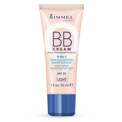Rimmel London BB Cream 9-in-1 Skin Perfecting Super Makeup SPF 25 Light 30ml New