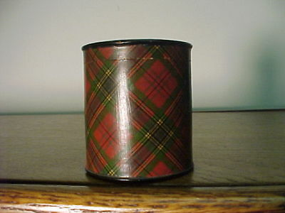 Antique TartanWare  Cylindrical Container,,India Tape Drum Label..McLean Plaid
