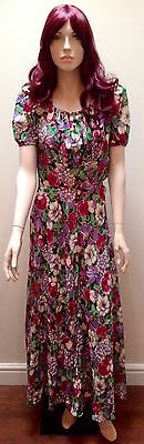 1930S Romantic Sheer Floral Gown S