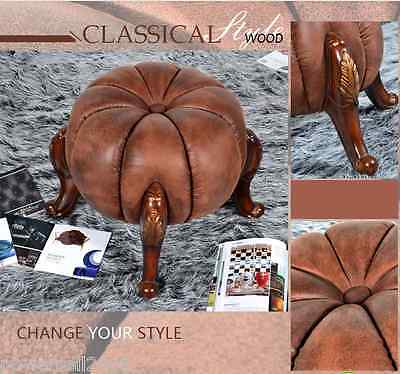 Exquisite Decorative Artificial Leather Round Vanity Stool/Footstool &5