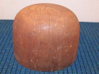 Early Vintage Antique Wood Wooden Millinery Hat Block Form Mold 7 1/8 - 6 - 510