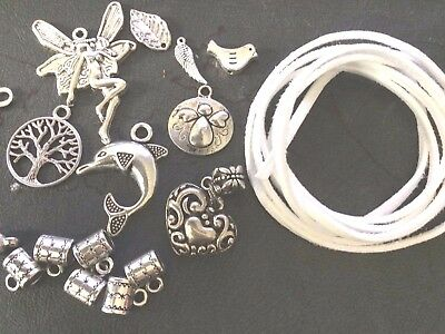 DIY Beading Kit 8 Charms, Suede Cord, 8 Charm Bails, 8 sets Clamps 18 Jump Rings