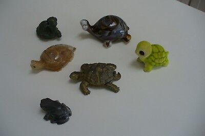 Turtle Figurines Lot Of Five Turtles And One Frog All Are Collectibles