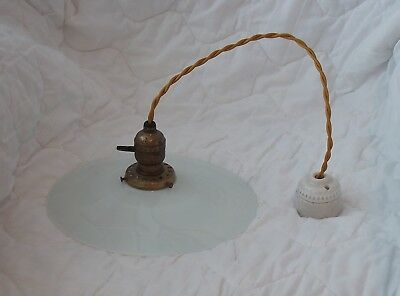 Antique Ceiling Lamp with Flat Opaline Shade ,  Very Nice Looking