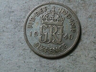Great Britain 6 pence sixpence  1940 George VI Wedding coin gift  silver
