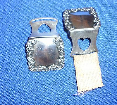 Pair of Antique Sterling Silver Stocking Clips Lingerie Stocking Shoe Dress