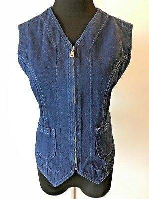 Vintage Lee Riders Blue Denim Jean Zip Front Womens Vest size M made in USA S9