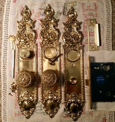 Brass Ornate Door Knobs, Front And Back Plates, Mortise Lockset, Lock & Keys