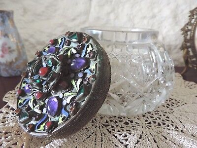 Rare Art Nouveau Cabachon Jewel Lidded Czech Crystal Powder Bowl Stunning Piece