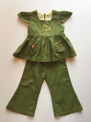 Vintage Handmade 1970's Outfit Green Embroidered Bunny Ladybugs Bell Bottoms 24m