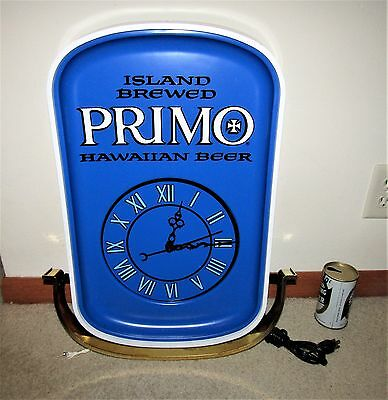 1968 PRIMO HAWAIIAN beer LARGE LIGHTED CLOCK  sign *SUPER RARE* PROTOTYPE??
