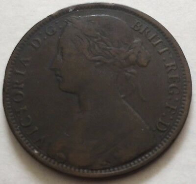 1861 Great Britain Penny [F] -DATE ERROR! -Bronze,Patina,Nice Detail- FREE SHIP!