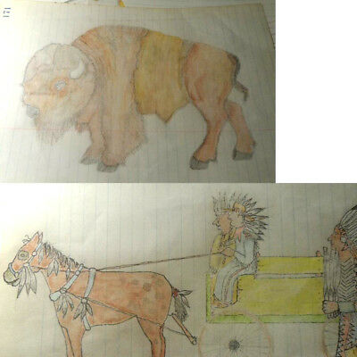 Vintage (3) 8 x10 Ledger Drawing 101 Ranch 1930 Ponca Indian Chiefs & Buffalo