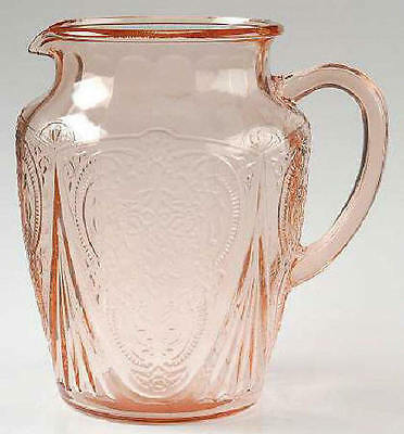 HAZEL ATLAS PINK ROYAL LACE 8 1/4 ins. 64 oz.  PITCHER ...EXCELLENT