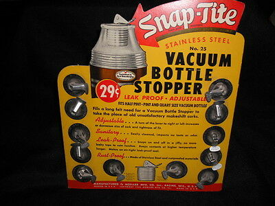 1960's Snap Tite lunch box thermos replacement stopper display NOS