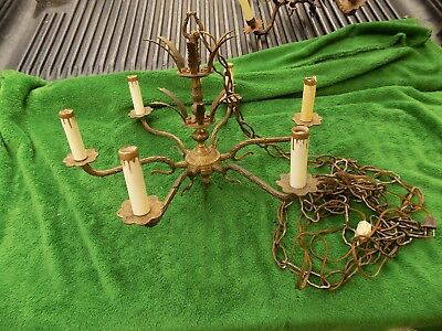 Vintage Ornate Brass Chandelier 6 Arm & Light With Plug Works Estate Find