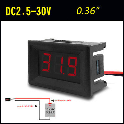 "0.36"" Digital Voltmeter Panel DC 2.50~30V Voltage Mount LED Voltmeter Red aa"