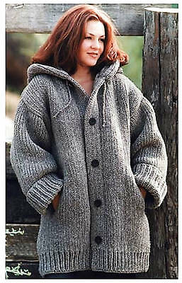 Chunky Hooded Ladies Jacket with Pockets Easy to Knit, Knitting Pattern, PDF