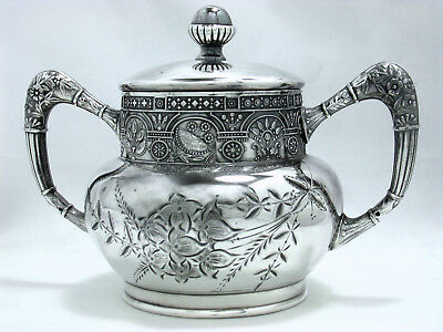 1890 Victorian Aesthetic Persian Embossed Barbour Silver Co. Tea Caddy Bowl