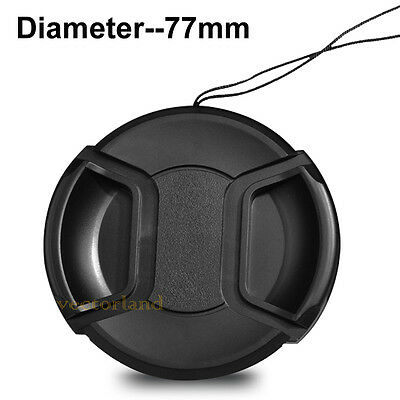 77mm Center Pinch Snap on Front Lens Cap Cover for Nikon Canon Sony DSLR camera