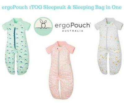 ergoPouch Sleepsuit and Sleeping Bag 1 TOG Organic Cotton FREE SHIPPING