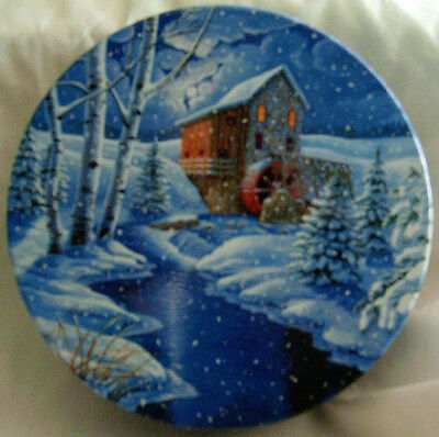 Winter Scene with Mill Cookie Tin