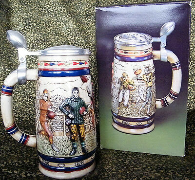 Football Ceramic and Pewter Beer Stein, 1983 - No Box