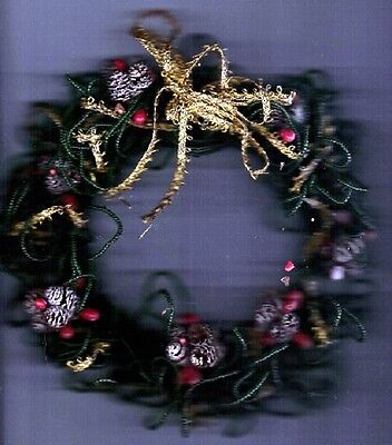 Wreath - Handmade Green Bead and Gold Ribbon with Brass Trinkets