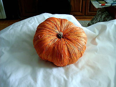 Hallowe'en - Bright Orange Raffia Pumpkin