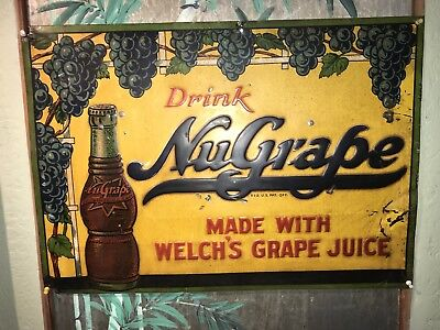 Scarce Nugrape soda sign Grape cola